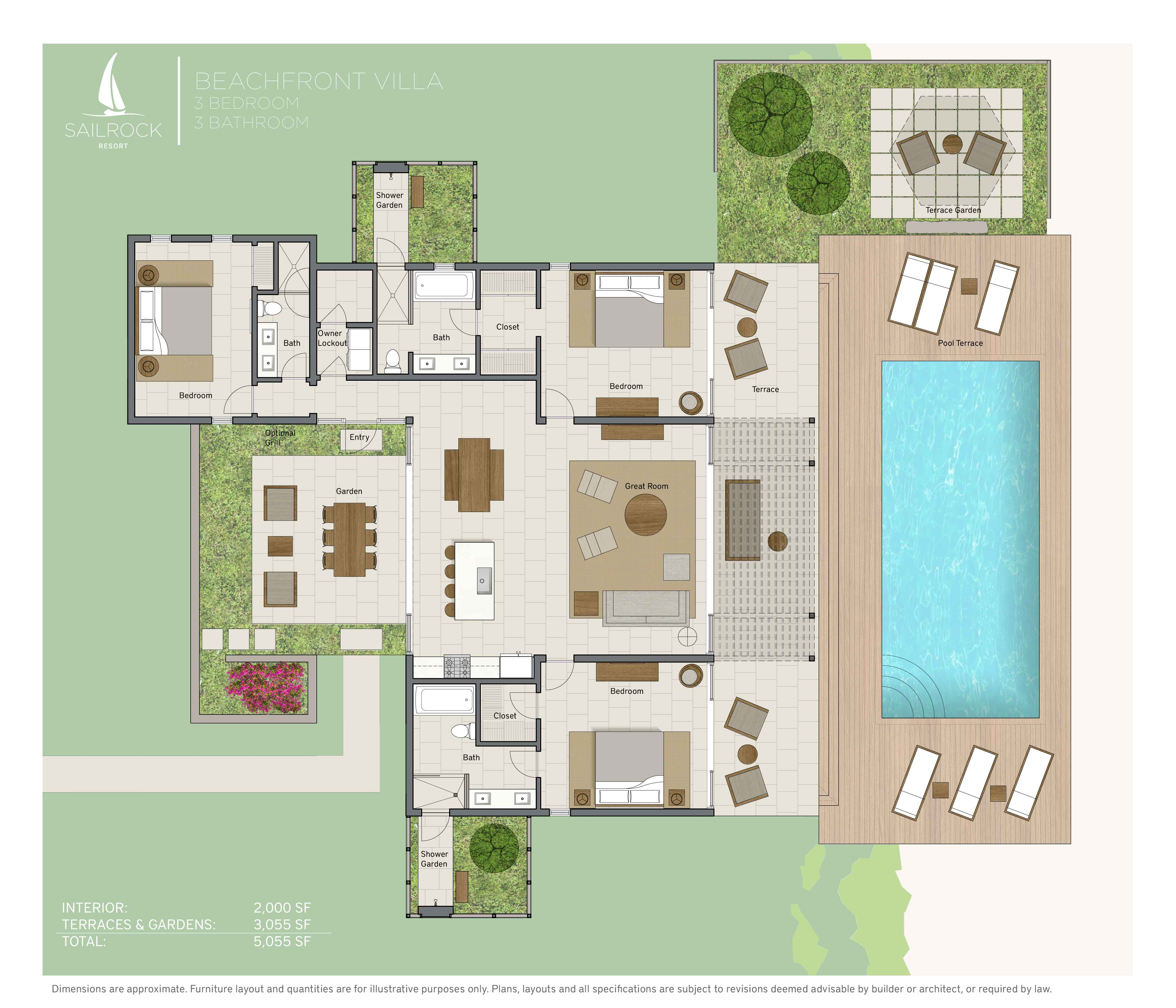 Turks caicos 3 bedroom beach villas sailrock resort 3 bedroom villa floor plans